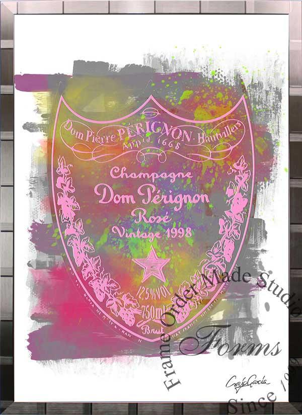 絵画 インテリア ブランドオマージュアート/クレイグ・ガルシア「ドン・ペリニヨン・ローズc(S)」ポスター ポップアート ドンペリ オマージュ