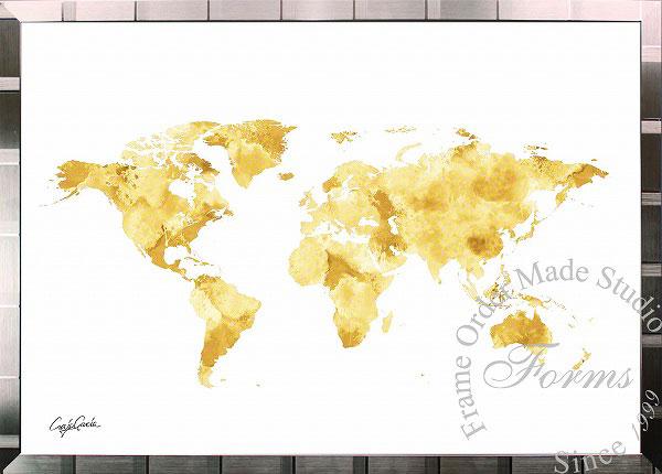絵画 インテリア ブランドオマージュアート/クレイグ・ガルシア「ルイ・ヴィトン/ワールドマップb(S)」ポスター ポップアート ヴィトン オマージュ