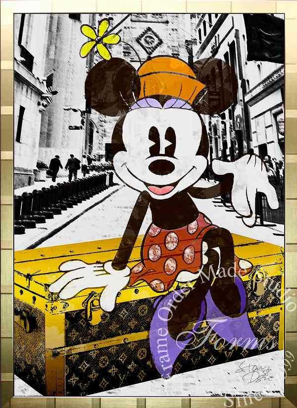 絵画 インテリア ディズニー×ブランドオマージュアート/スターデザイン「ミニーマウス×ルイ・ヴィトン(G)」A1ポスター