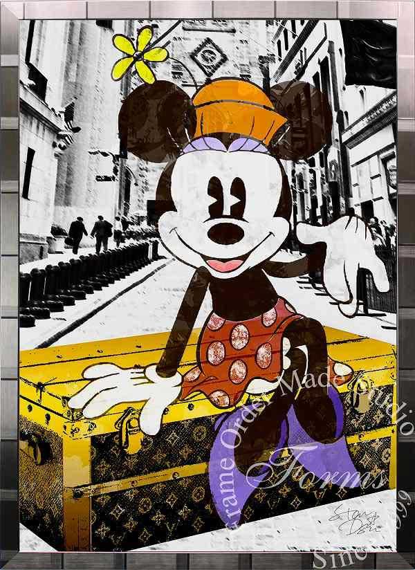 絵画 インテリア ディズニー×ブランドオマージュアート/スターデザイン「ミニーマウス×ルイ・ヴィトン(S)」A1ポスター