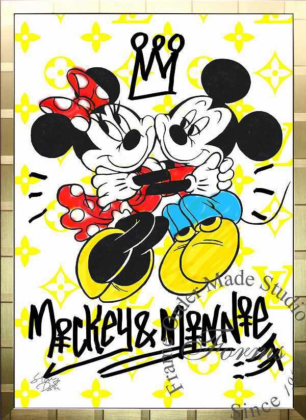 絵画 インテリア ディズニー×ブランドオマージュアート/スターデザイン「ミッキー&ミニー×ルイ・ヴィトン(G)」A1ポスター