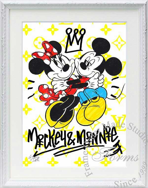 絵画 インテリア ディズニー×ブランドオマージュアート/スターデザイン「ミッキー&ミニー×ルイ・ヴィトン(W)」A4ポスター