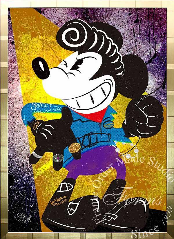 絵画 インテリア ディズニー×ブランドオマージュアート/スターデザイン「ミッキーマウス×ルイスレザー(G)」A1ポスター