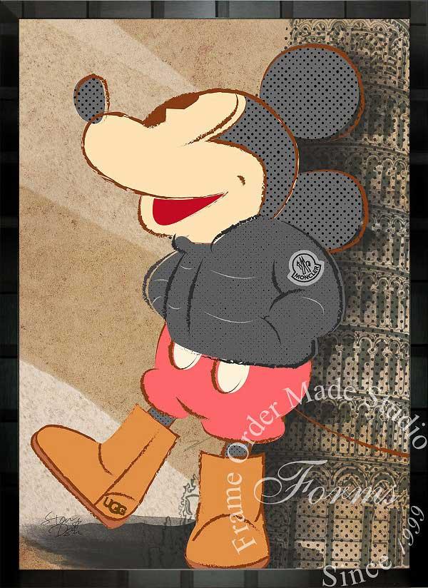 絵画 インテリア ディズニー×ブランドオマージュアート/スターデザイン「ミッキーマウス×モンクレール/UGG」A1ポスター