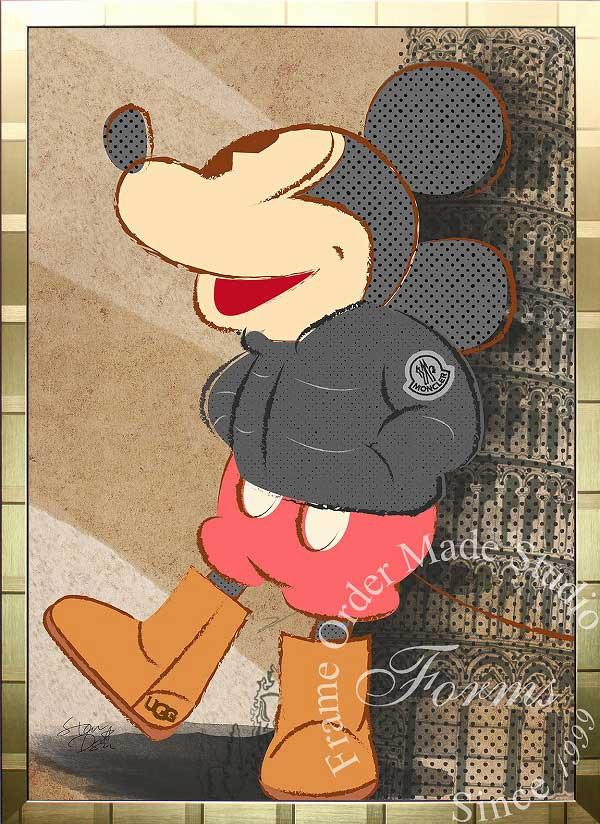 絵画 インテリア ディズニー×ブランドオマージュアート/スターデザイン「ミッキーマウス×モンクレール/UGG(G)」A1ポスター