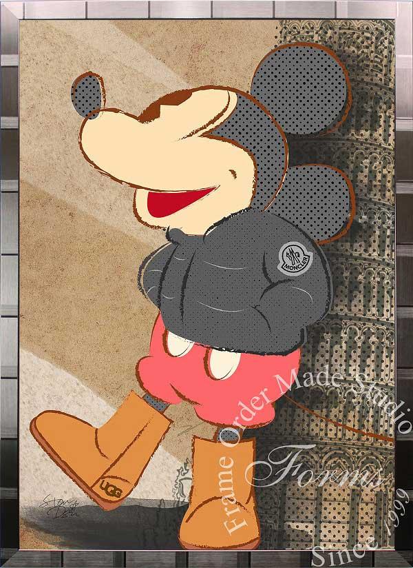 絵画 インテリア ディズニー×ブランドオマージュアート/スターデザイン「ミッキーマウス×モンクレール/UGG(S)」A1ポスター