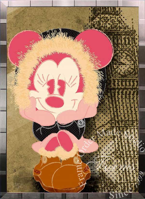 絵画 インテリア ディズニー×ブランドオマージュアート/スターデザイン「ミニーマウス×モンクレール/UGG(S)」A1ポスター
