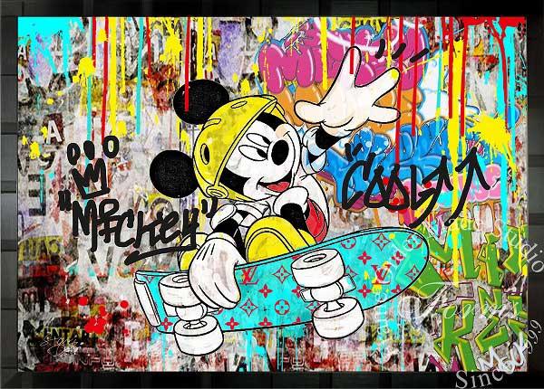 絵画 インテリア ディズニー×ブランドオマージュアート/スターデザイン「ミッキー×ルイ・ヴィトン」A1ポスター