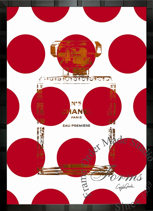 絵画 インテリア ブランドオマージュアート/クレイグ・ガルシア「シャネル/ビッグ ドットb」ポスター ポップアート シャネル オマージュ
