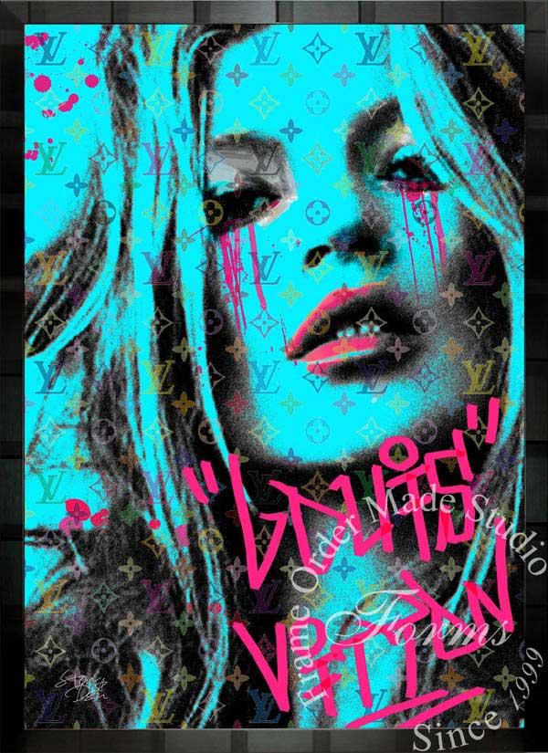ブランドオマージュアート/スターデザイン「ケイト・モス×ルイ・ヴィトン/Kate Cry b」A1ポスター