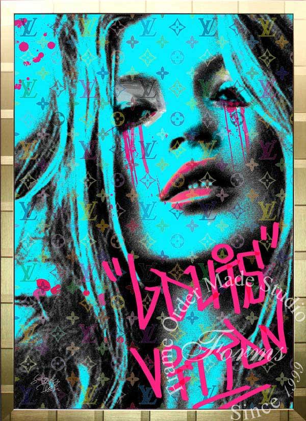 ブランドオマージュアート/スターデザイン「ケイト・モス×ルイ・ヴィトン/Kate Cry b(G)」A1ポスター