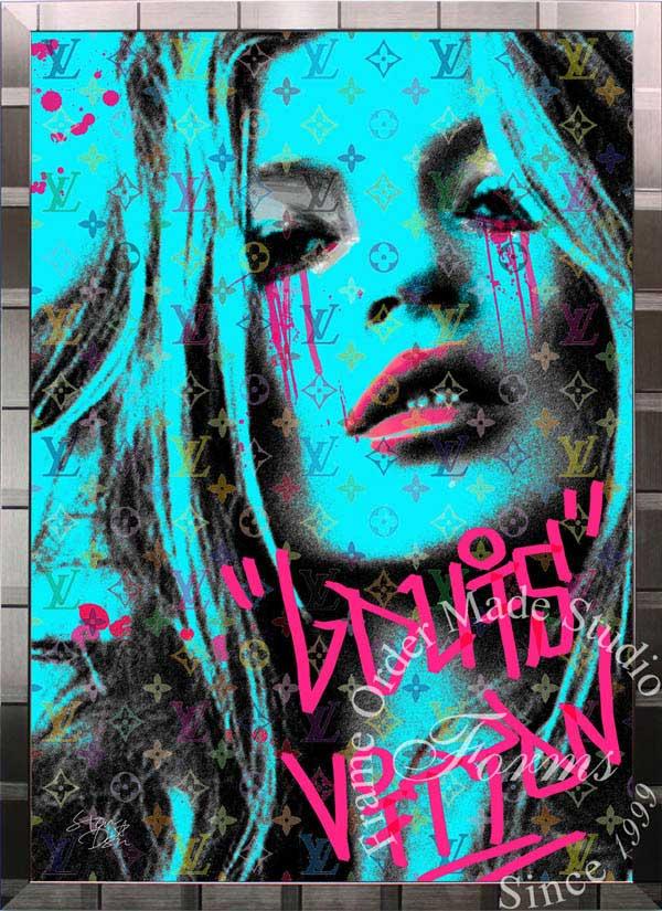 ブランドオマージュアート/スターデザイン「ケイト・モス×ルイ・ヴィトン/Kate Cry b(S)」A1ポスター