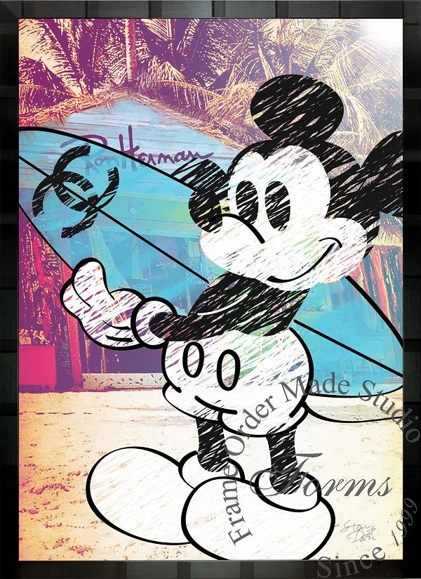 絵画 インテリア ディズニー×ブランドオマージュアート/スターデザイン「ミッキーマウス×シャネルc」A1ポスター
