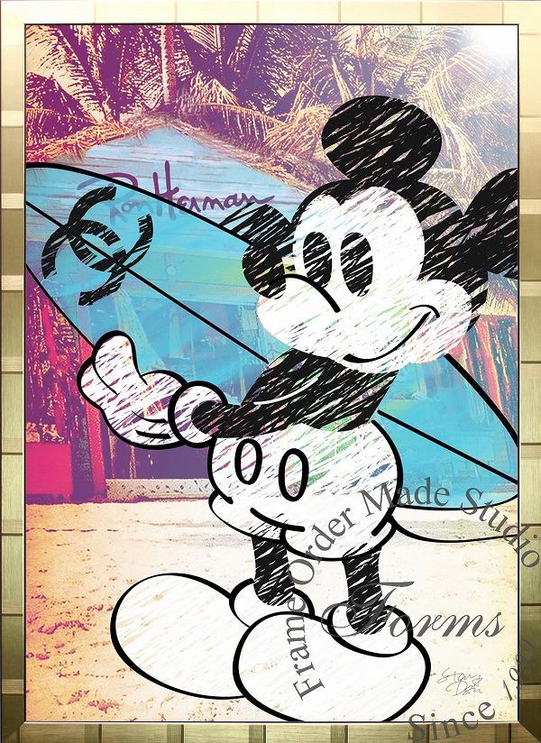絵画 インテリア ディズニー×ブランドオマージュアート/スターデザイン「ミッキーマウス×シャネルc(G)」A1ポスター
