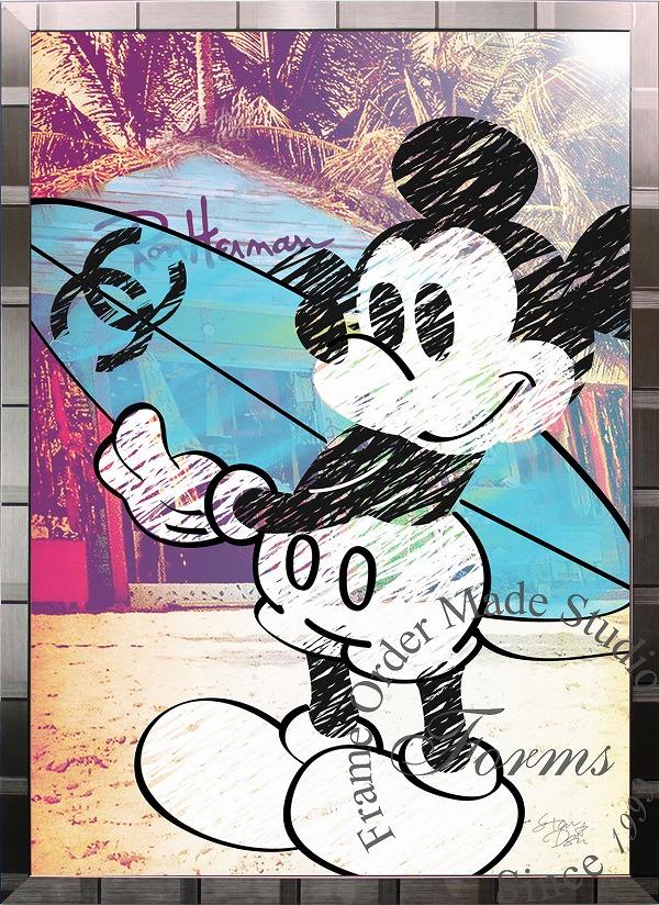 絵画 インテリア ディズニー×ブランドオマージュアート/スターデザイン「ミッキーマウス×シャネルc(S)」A1ポスター