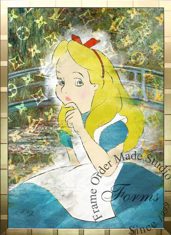 絵画 インテリア ディズニー×ブランドオマージュアート/スターデザイン「不思議の国のアリス×ルイ・ヴィトン(G)」A1ポスター