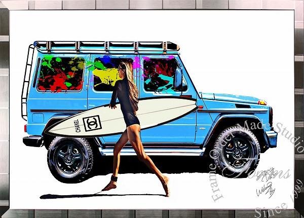 絵画 インテリア ブランドオマージュアート/スターデザイン「ベンツ/ゲレンデ×シャネル/サーフィン(S)」A1ポスター
