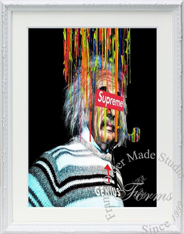 絵画 インテリア ブランドオマージュアート/スターデザイン「アインシュタイン×シュプリーム(W)」A4ポスター