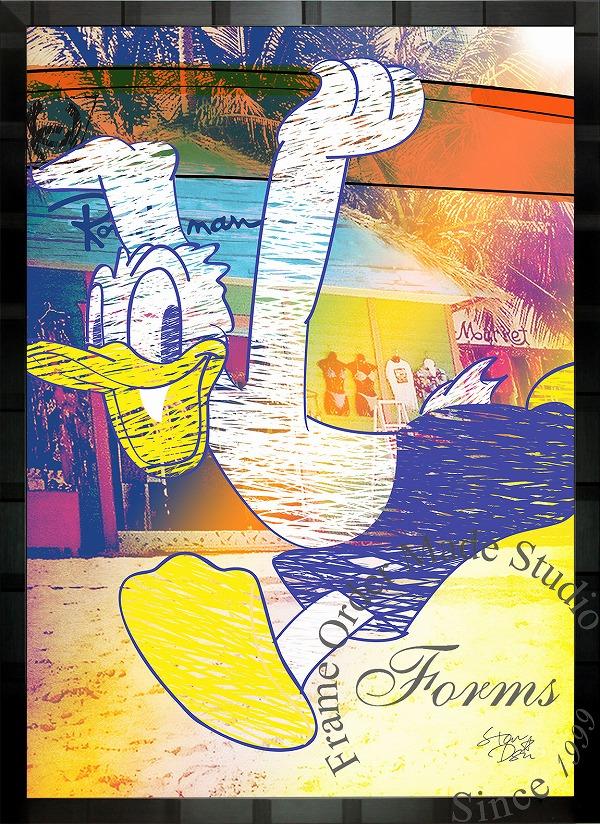 絵画 インテリア ディズニー×ブランドオマージュアート/スターデザイン「ドナルドダック×シャネルb」A1ポスター
