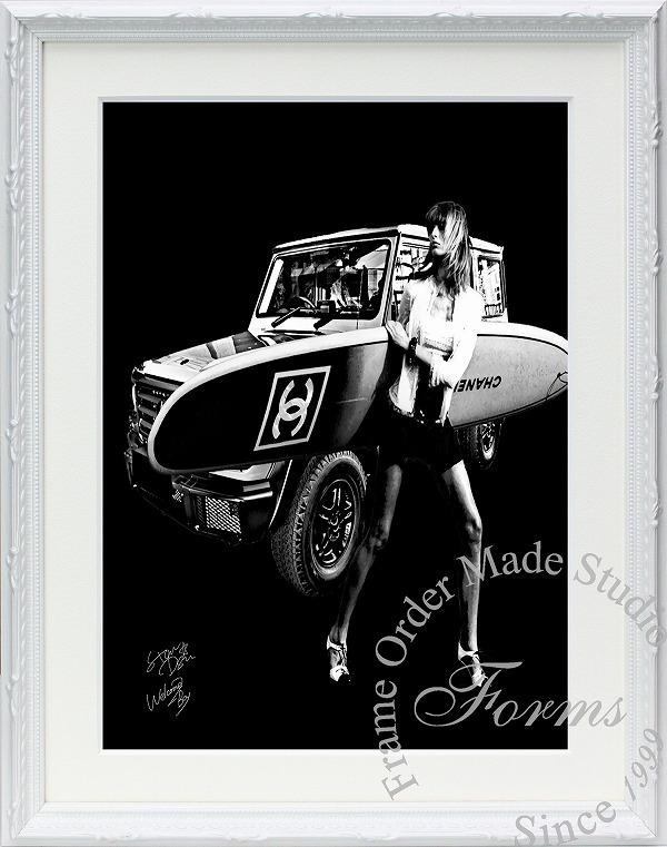 絵画 インテリア ブランドオマージュアート/スターデザイン「ベンツ/ゲレンデ×シャネル/サーフィンf(W)」A4ポスター