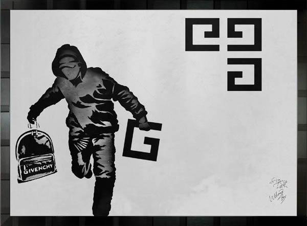 絵画 インテリア ブランドオマージュアート/スターデザイン「バンクシー×ジバンシィ」A1ポスター