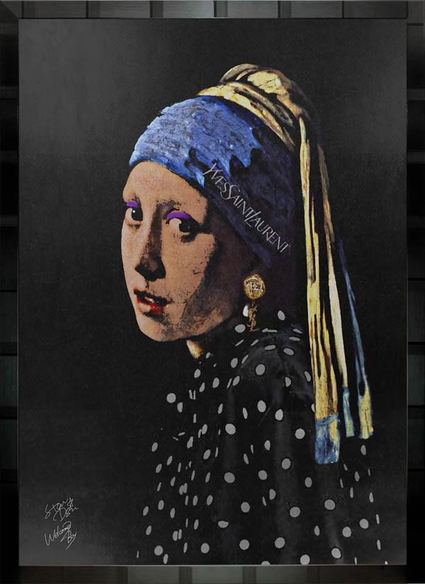 絵画 インテリア 名画×ブランドオマージュアート/スターデザイン「フェルメール×イヴ・サンローラン」A1ポスター