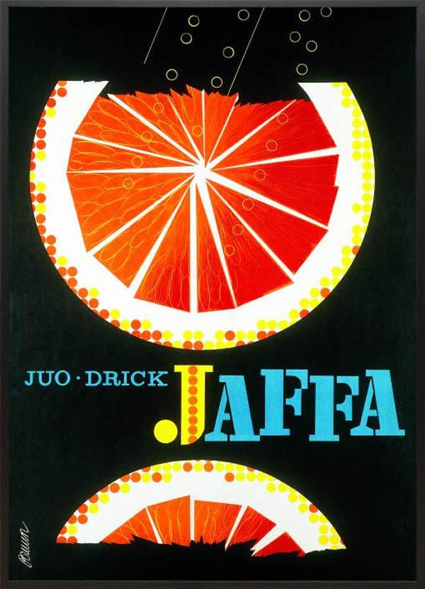 北欧 雑貨 インテリア エリック・ブルーン/JAFFAポスター「オレンジ(ブラック)」アート フィンランド 絵画