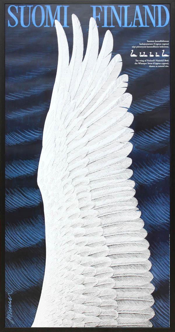 北欧 雑貨 インテリア エリック・ブルーン/自然保護協会ポスター「白鳥の羽(ブラック)」アート フィンランド 絵画