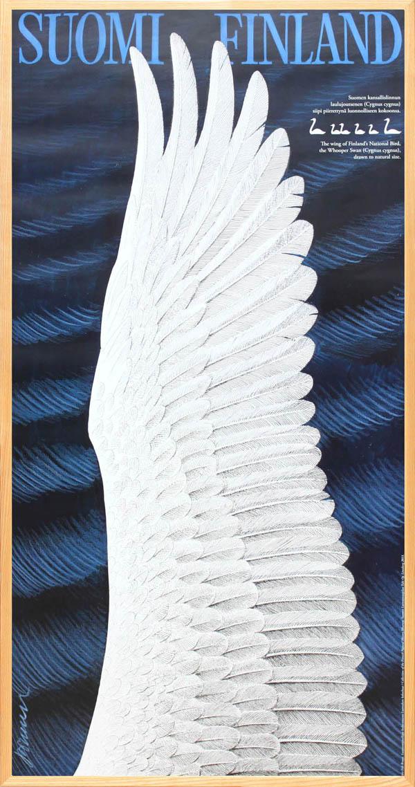 北欧 雑貨 インテリア エリック・ブルーン/自然保護協会ポスター「白鳥の羽(クリアー)」アート フィンランド 絵画