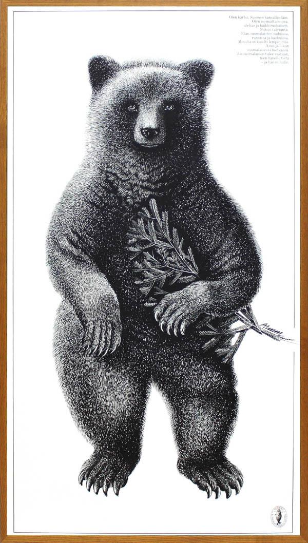 北欧 雑貨 インテリア エリック・ブルーン/自然保護協会ポスター「ベア(オーク)」アート フィンランド 絵画