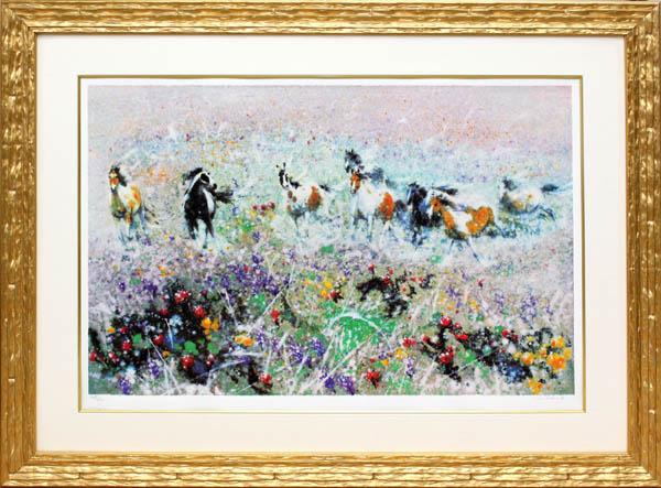 フー・チー・チュン「春風」展示用フック付シルクスクリーン 春の草原を駆ける馬【インテリア】【アート】【絵画インテリア】