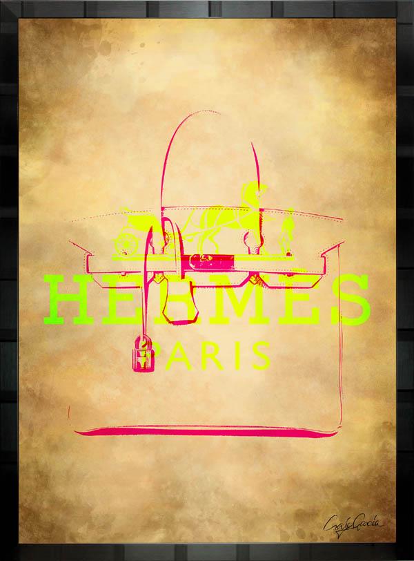 【絵画インテリア】ブランドオマージュアート/クレイグ・ガルシア「エルメス/ビンテージ・バーキン」ポスター【インテリア】【ポップアート】【クレイグガルシア】【エルメス】【オマージュ】【パロディ】