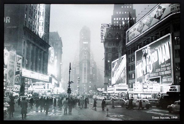 モノトーンアート「タイムズスクエア,1949」プレゼント ギフト 各種お祝い 誕生日【インテリア】【モノクロ】【絵画インテリア】