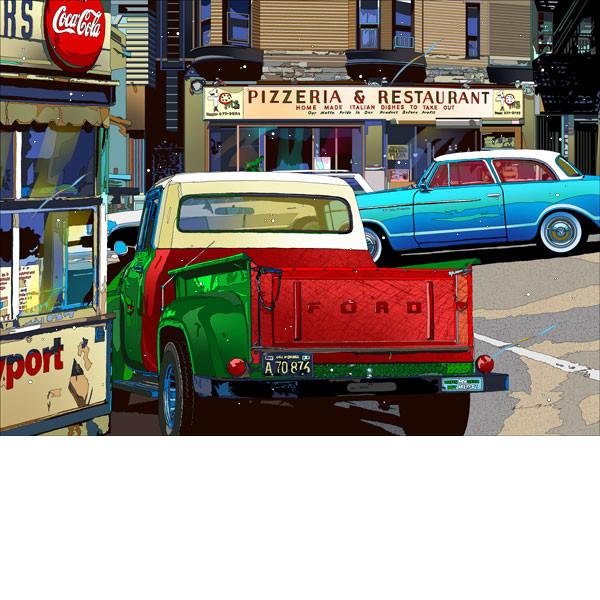 ■鈴木英人■版画「フォード・ダウンタウン」