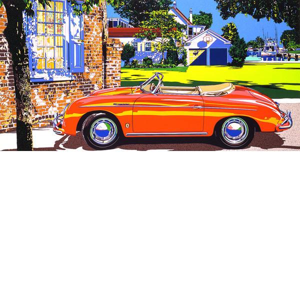 ■鈴木英人■版画「ポルシェ356スピードスター」