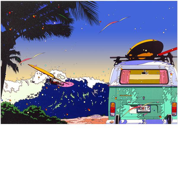 イメージサイズ 293×420mm EMグラフ 額装 ■鈴木英人■版画 メイルオーダー 贈物 2001年 バン アンド ウィンドサーフ