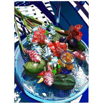 ■鈴木英人■版画「トロピカルな静物」 2005年