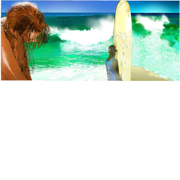 ■鈴木英人■版画「ふたつの波」 2005年