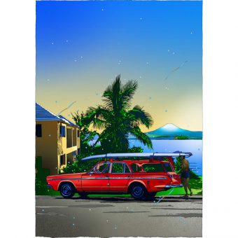 ■鈴木英人■版画「富士とサーファー」 2006年