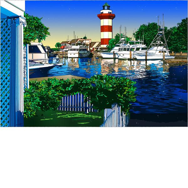 ■鈴木英人■版画「ライトハウスの美しい眺め」 2008年