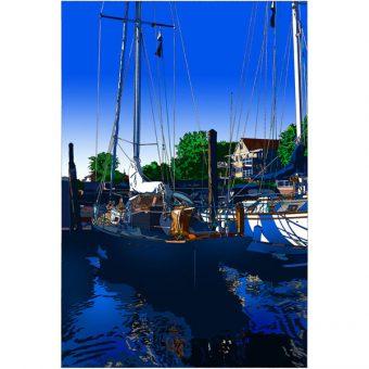 ■鈴木英人■版画「海への搭乗ゲート」 2008年