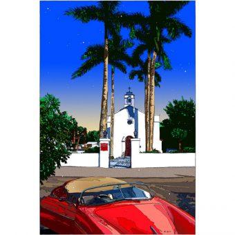 ■鈴木英人■版画「南の教会の前で」 2008年
