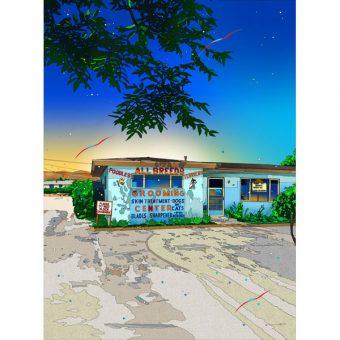 ■鈴木英人■版画「下町のエステハウス」 2012年