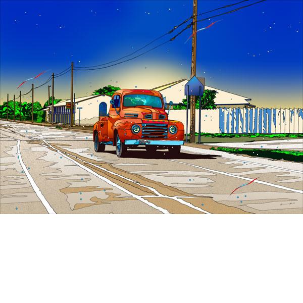 ■鈴木英人■版画「カントリー・フォード」 2013年