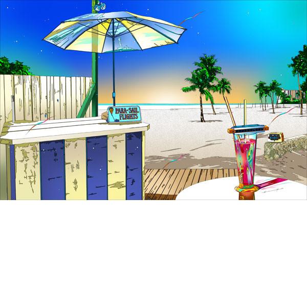 ■鈴木英人■版画「マイアミ・ビーチの甘い罠」 2013年