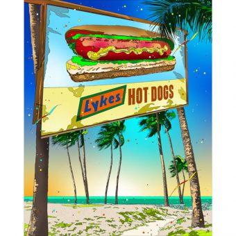 ■鈴木英人■版画「マイアミ名物ビーチドッグ」 2013年