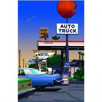 ■鈴木英人■版画「オート・トラック」 2009年