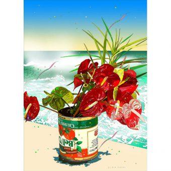 ■鈴木英人■版画「海辺の花」 2009年