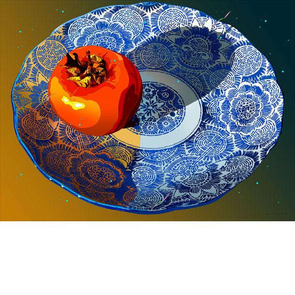 ■鈴木英人■版画「柿と藍」 2010年