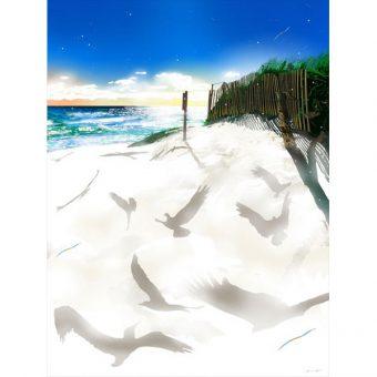 ■鈴木英人■版画「白い砂に戯れて」 2012年